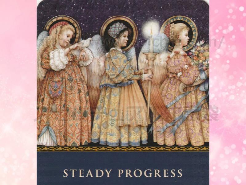 左のカードを選んだあなたへのメッセージ steady progress たゆまぬ前進 のカード画像